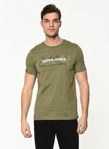Jack & Jones Jack&Jones Erkek Baskılı Tişört 12188029 Yeşil